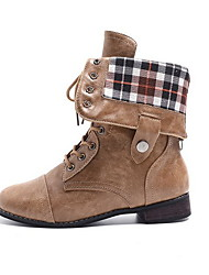 cheap -Women's Boots Low Heel Round Toe Leather Mid-Calf Boots Fall & Winter Black / Brown / Coffee