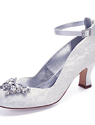 cheap -Women's Wedding Shoes Cuban Heel Round Toe Vintage Classic Wedding Party & Evening Lace Crystal Solid Colored White Ivory