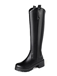 cheap -Women's Boots Low Heel Round Toe PU Knee High Boots Casual / British Fall & Winter Black / Brown