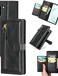 cheap -Case For Samsung Galaxy Galaxy S10 / Galaxy S10 Plus / Galaxy S10 E Card Holder / Shockproof / Flip Full Body Cases Solid Colored PU Leather / TPU