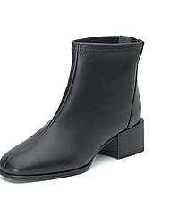 cheap -Women's Boots Low Heel Peep Toe PU Booties / Ankle Boots Fall & Winter Black / Beige
