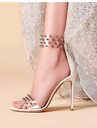 cheap -Women's Sandals Crystal Sandals Stiletto Heel Open Toe Rivet PVC / PU Summer White / Black / Gray / Party & Evening / Party & Evening