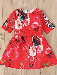 cheap -Kids Toddler Girls' Flower Sweet Floral Print Long Sleeve Above Knee Dress Red
