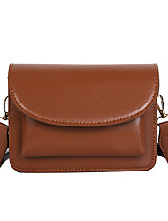 cheap -Women's PU Crossbody Bag Solid Color Black / Brown / Red Brown