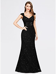 cheap -Mermaid / Trumpet V Neck Floor Length Lace Sparkle / Black Formal Evening / Party Wear Dress with Sequin 2020