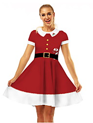 cheap -Mommy and Me Color Block Christmas Dress Red