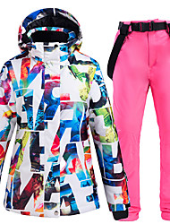 cheap -ARCTIC QUEEN Women's Ski Suit Ski Jacket with Pants Skiing Camping / Hiking Winter Sports Thermal Warm Waterproof Windproof Polyester Jacket Pants / Trousers Clothing Suit Ski Wear / Breathable