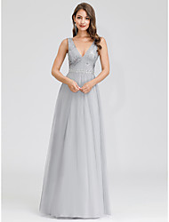 cheap -A-Line Elegant Prom Formal Evening Dress Plunging Neck Sleeveless Floor Length Tulle with 2020