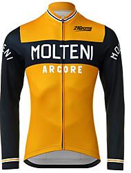 abordables -Homme Manches Longues Maillot Velo Cyclisme Noir / Orange. Cyclisme Maillot Pantalons Hauts / Top VTT Vélo tout terrain Vélo Route Résistant aux UV Respirable Séchage rapide Des sports Hiver 100