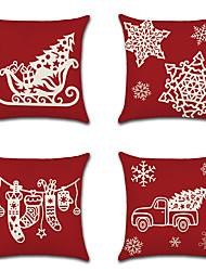 cheap -4 pcs Linen Pillow Cover, Art Deco Holiday European Christmas Throw Pillow