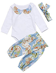 cheap -Baby Girls' Casual White / Rose Floral / Solid Colored Print Long Sleeve Long Clothing Set White