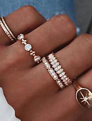 cheap -Women's Ring Set 6pcs Gold Imitation Diamond Alloy Simple Vintage European Daily Street Jewelry Star