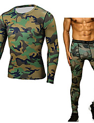 cheap -Men's Running Base Layer 1 Pair Winter Crew Neck Fitness Gym Workout Exercise Thermal / Warm Breathable Quick Dry Sportswear Camo / Camouflage Compression Clothing Leggings Clothing Suit Long Sleeve