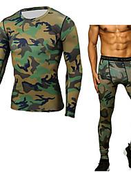 abordables -Homme Sous Vêtements Course Running 1 paire Hiver Col Ras du Cou Fitness Entraînement de gym Exercice Chaud Respirable Séchage rapide Tenue de sport camouflage Vêtements de Compression / Sous maillot