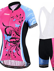 cheap -21Grams Women's Short Sleeve Cycling Jersey with Bib Shorts Winter Red+Blue Sugar Skull Skull Bike Clothing Suit Ultraviolet Resistant Quick Dry Breathable Back Pocket Sports Sugar Skull Mountain