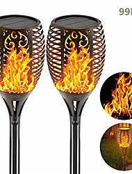 cheap -Solar Flame Torches Lights Flickering Dancing Landscape Lanterns Dusk to Dawn Auto On Off 99 LEDs IP65 Waterproof Pathway Garden Yard Walkway Lawn Patio Decorative Outdoor Camping Lamp 2 PCS