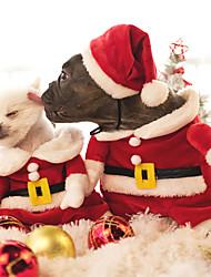 cheap -Cat Dog Costume Jumpsuit Christmas Winter Dog Clothes Red Costume Polar Fleece Cartoon Cosplay Christmas XS S M L XL