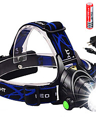 cheap -Headlamps Headlight 3000 lm LED Emitters 3 Mode with 2x18650 Batteries and Charger Zoomable Portable UK USA EU Plug Camping / Hiking / Caving Cycling / Bike Hunting / Aluminum Alloy