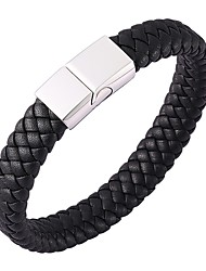 cheap -Men's Bracelet Bangles Leather Bracelet Plaited Wrap woven Cheap Classic Basic Hip-Hop Leather Bracelet Jewelry Black For Party Daily Casual Sports