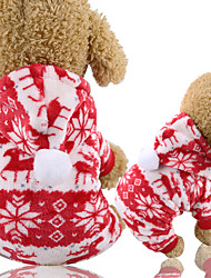 cheap -Dog Cat Hoodie Vest Christmas Christmas Dog Clothes Red Costume Polyester Canvas Mixed Material XS S M L XL XXL