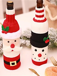 cheap -Christmas Wine Bottle Decor Set Santa Claus Snowman Deer Bottle Cover Clothes Kitchen Decoration for New Year Xmas Dinner Party