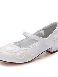 cheap -Girls' Mary Jane Satin Heels Little Kids(4-7ys) / Big Kids(7years +) Stitching Lace White / Ivory Spring / Party & Evening