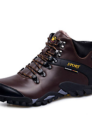 cheap -Men's Comfort Shoes Cowhide Winter Sporty / Casual Athletic Shoes Warm Booties / Ankle Boots Black / Brown