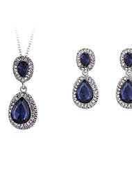 cheap -Women's Necklace Earrings Briolette Drop Simple European Fashion Earrings Jewelry Blue For Party Graduation Gift Daily Work 1 set