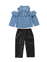 cheap -Baby Girls' Casual / Basic Black / Blue Solid Colored Long Sleeve Long Clothing Set Blue