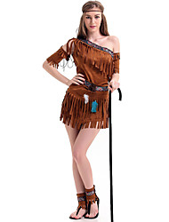 cheap -Indian Girl Adults Women's Cosplay Ethnic & Interracial Dress Outfits For Party Halloween Spandex Halloween Carnival Masquerade Dress Sleeves Headband