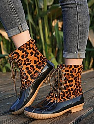 cheap -Women's Boots Rain Boots Low Heel Round Toe Buckle PU Mid-Calf Boots Vintage / Casual Spring &  Fall / Fall & Winter Black / Brown / Leopard / Color Block