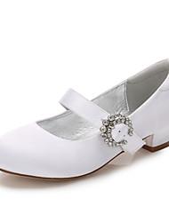 cheap -Girls' Mary Jane Satin Heels Little Kids(4-7ys) / Big Kids(7years +) Rhinestone White / Ivory Spring / Party & Evening