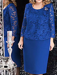 cheap -Sheath / Column Scoop Neck Knee Length Chiffon Long Sleeve Plus Size / Elegant Mother of the Bride Dress with Beading 2020