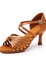 cheap -Women's Dance Shoes Silk Latin Shoes Heel Flared Heel Customizable Black / Brown