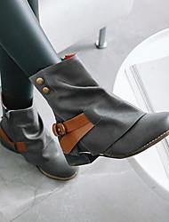 رخيصةأون -نسائي كتب كعب خفي أمام الحذاء على شكل دائري PU البوط القصير / بوط الكاحل خريف & شتاء أسود / أصفر / رمادي