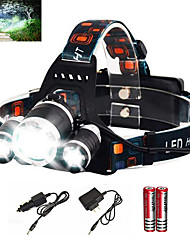 cheap -Headlamps Headlight Waterproof Rechargeable 6000 lm LED Emitters 1 Mode with Batteries and Charger Waterproof Zoomable Rechargeable Super Light Camping / Hiking / Caving Everyday Use Diving / Boating