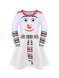 cheap -Kids Girls' Active Cute Geometric Christmas Print Long Sleeve Midi Dress Black