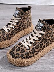 cheap -Women's Sneakers Flat Heel Square Toe Canvas Fall & Winter Black / Leopard