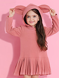 cheap -Kids Toddler Girls' Sweet Cute Solid Colored Long Sleeve Above Knee Dress Red