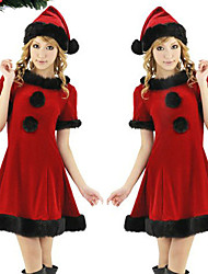cheap -Santa Claus Dress Women's Adults' Costume Party Christmas Christmas Polyester Dress / Hat