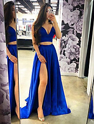 cheap -A-Line Plunging Neck Sweep / Brush Train Satin Two Piece / Elegant Prom Dress with Split Front 2020