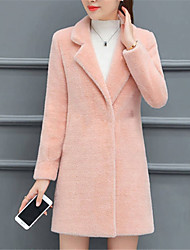 cheap -Women's Daily / Going out Simple / Casual Fall / Winter Long Fur Coat, Solid Colored Shirt Collar Long Sleeve Polyester / Lamb Fur Blushing Pink / Beige / Army Green