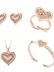 cheap -Women's Cuff Bracelet Stud Earrings Necklace Classic Heart Classic Trendy Fashion Cute Elegant Earrings Jewelry Gold For Gift Daily Street Holiday Festival 5pcs / Ring