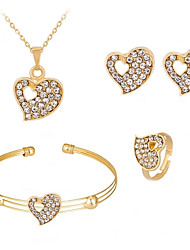 cheap -Women's Cuff Bracelet Stud Earrings Pendant Necklace Heart Simple European Trendy Sweet Fashion Imitation Diamond Earrings Jewelry Gold For Party Gift Daily Work Promise Four-piece Suit / Ring