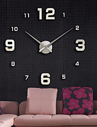 cheap -Modern Contemporary Plastic & Metal Round Indoor Battery Decoration Wall Clock Mirror Polished No