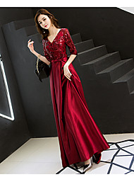 cheap -A-Line Elegant Sparkle Wedding Guest Prom Formal Evening Dress V Neck Half Sleeve Floor Length Satin Sequined with 2020