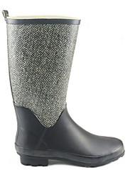 cheap -Women's Boots Rain Boots Low Heel Round Toe Rubber Mid-Calf Boots Fall & Winter Black