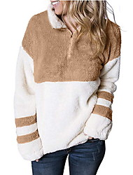 cheap -Women's Daily Regular Faux Fur Coat, Color Block Stand Long Sleeve Faux Fur Black / Gray / Khaki