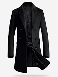 cheap -Men's Daily / Weekend Winter Long Coat, Solid Colored Fantastic Beasts Peaked Lapel Long Sleeve 100% Polyester Black / Gray / Slim