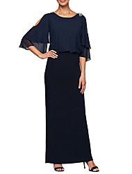 cheap -Sheath / Column Mother of the Bride Dress Elegant & Luxurious Jewel Neck Floor Length Chiffon 3/4 Length Sleeve with Crystals 2020 / Bell Sleeve